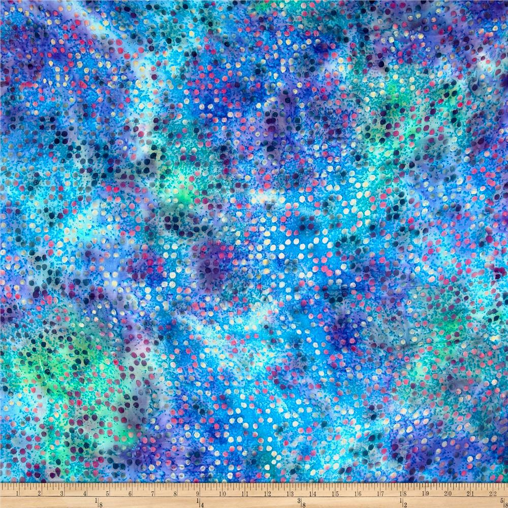 Rayon Challis Batik Dots Aqua/Green/Multi Fabric
