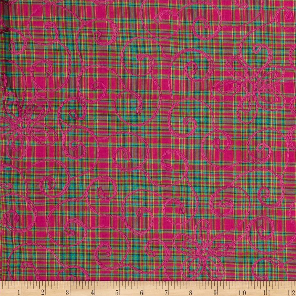 Embroidered Small Plaid Pink/Red/Green