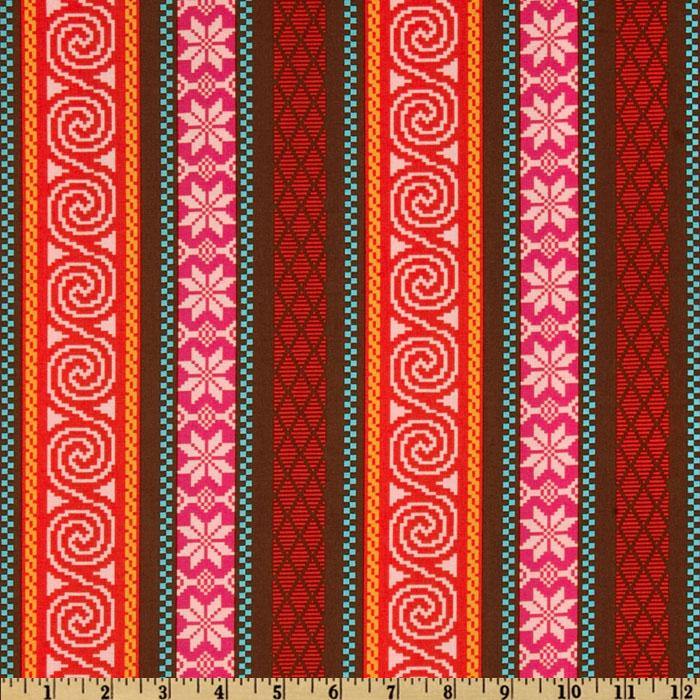 Michael Miller Heaven and Helsinki Fair Isle Stripe Orange