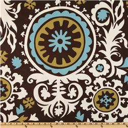 Premier Prints Suzani Chocolate/Natural Fabric