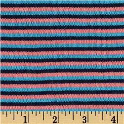 Rebecca's Cotton Hatchi Knit Stripes Black/Aqua/Pink