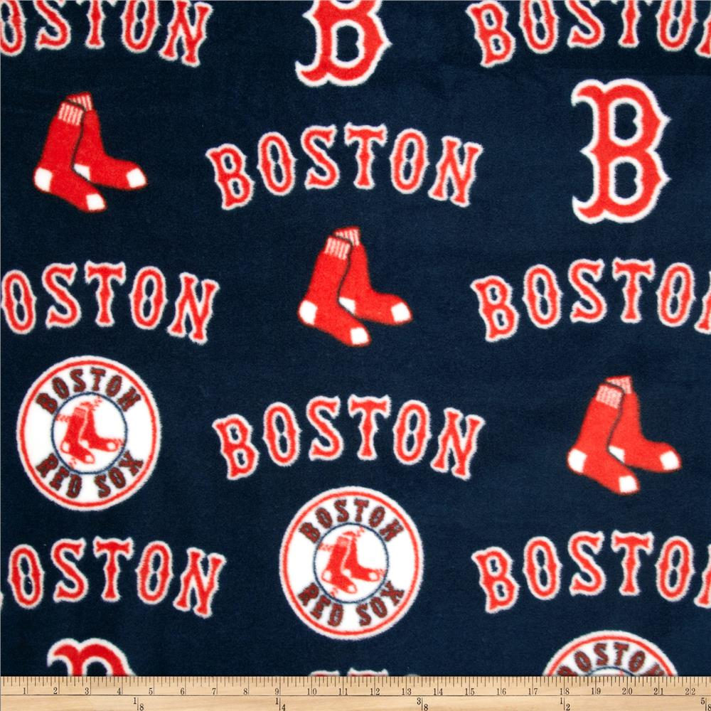 MLB Fleece Boston Red Sox Toss White/Red Fabric By The Yard