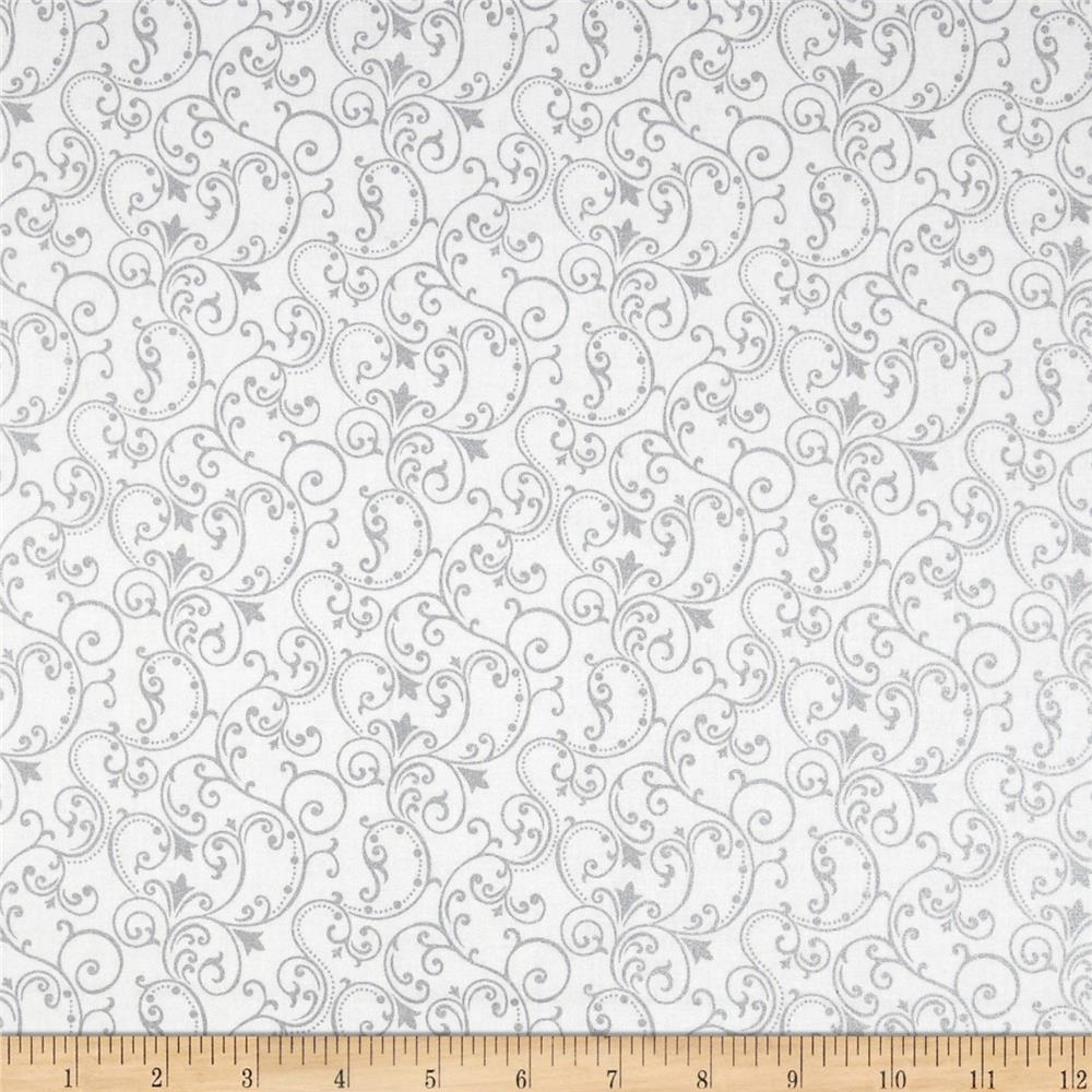 Pearle Silver Opalescent Scroll White