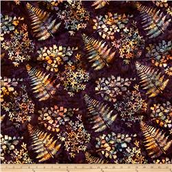 Bali Handpaints Batiks Mixed Leaves Eggplant
