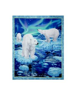 Northern Lights Polar Bear 36 in. Panel Blue