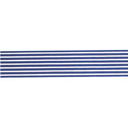"1.5"" Grosgrain Stripes Royal Blue/Ivory"