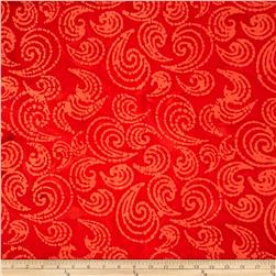 Indian Batiks Paisley Scroll Orange