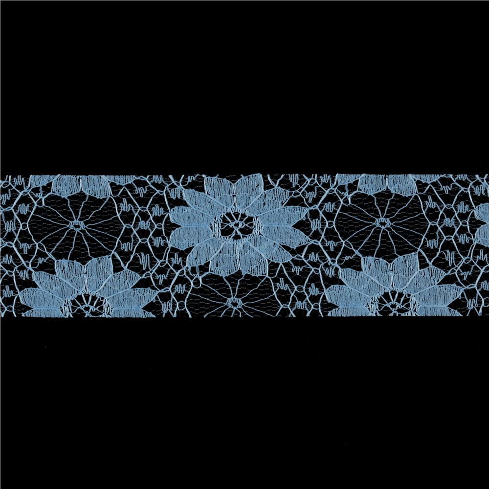 1 1/2'' Floral Lace Ribbon Light Blue