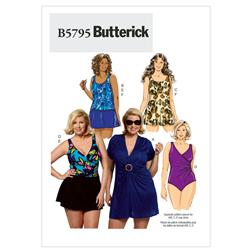 Butterick Women's Cover-Up, Top, Swimdress, Swimsuit, Skirt and Briefs Pattern B5795 Size KK0