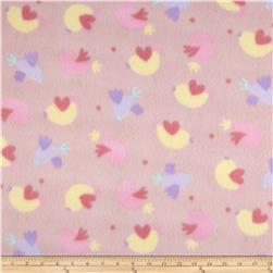 Juvenile Fleece Baby Girl Hearts Pink/Yellow/Purple Fabric