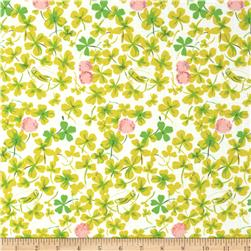 Heather Ross Briar Rose Cricket Clover Pink/White Fabric