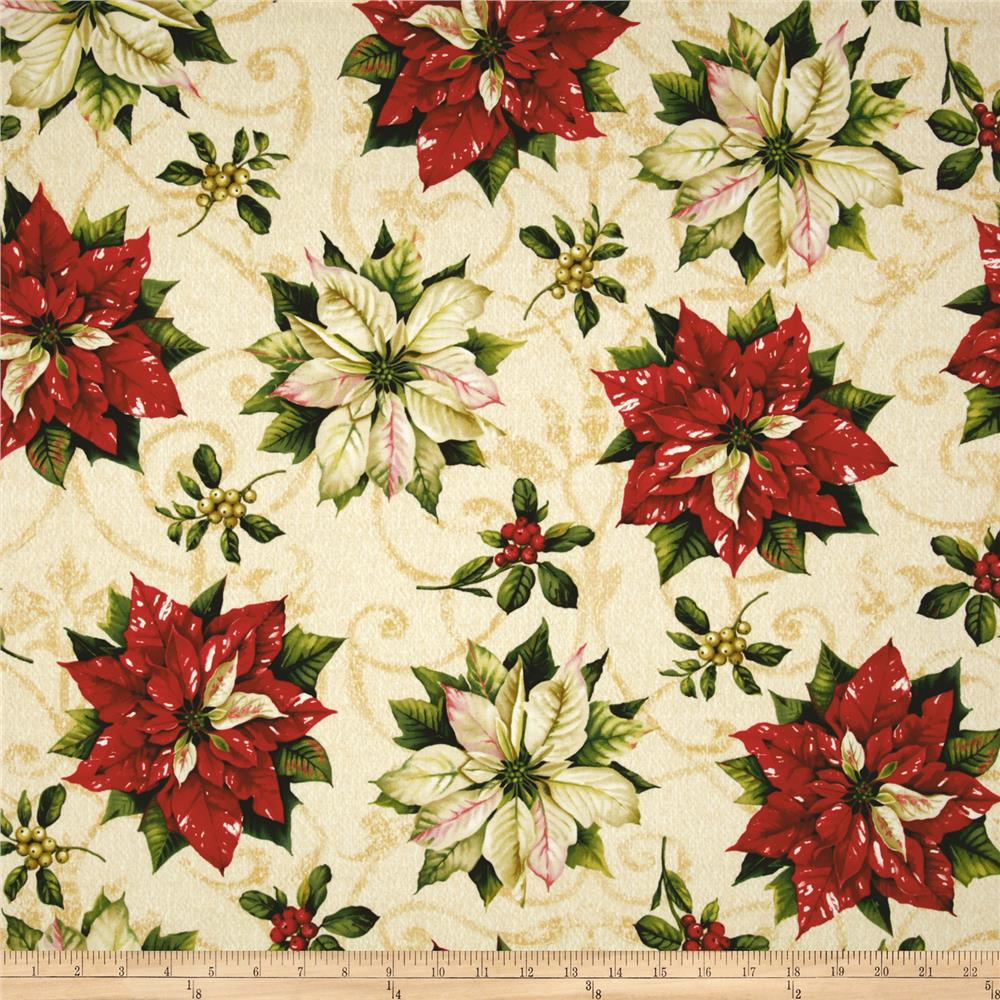 "Tis The Season 58"" Wide Large Poinsettias Ivory"