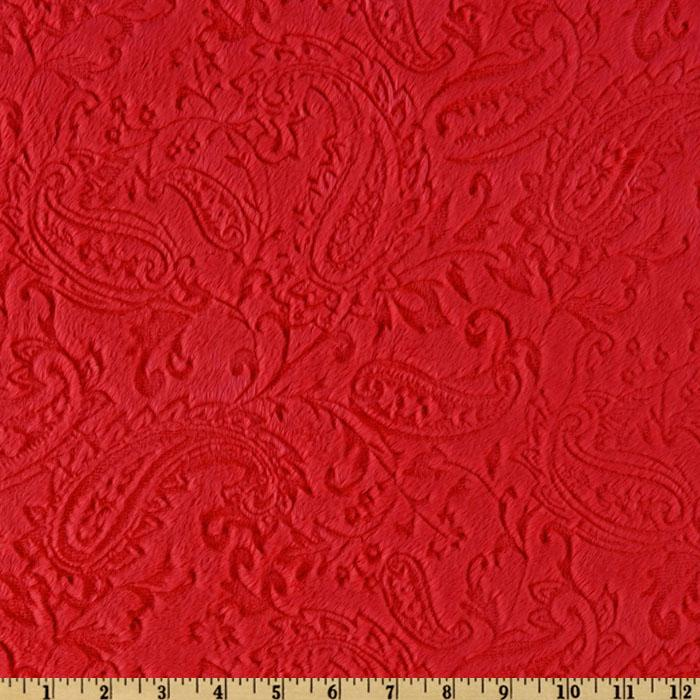 Minky Cuddle Embossed Paisley Red