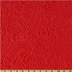 Shannon Minky Paisley Cuddle Embossed Red