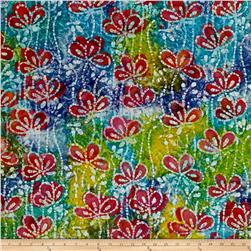 Indian Batik Floral Vine Blue/Green/Yellow