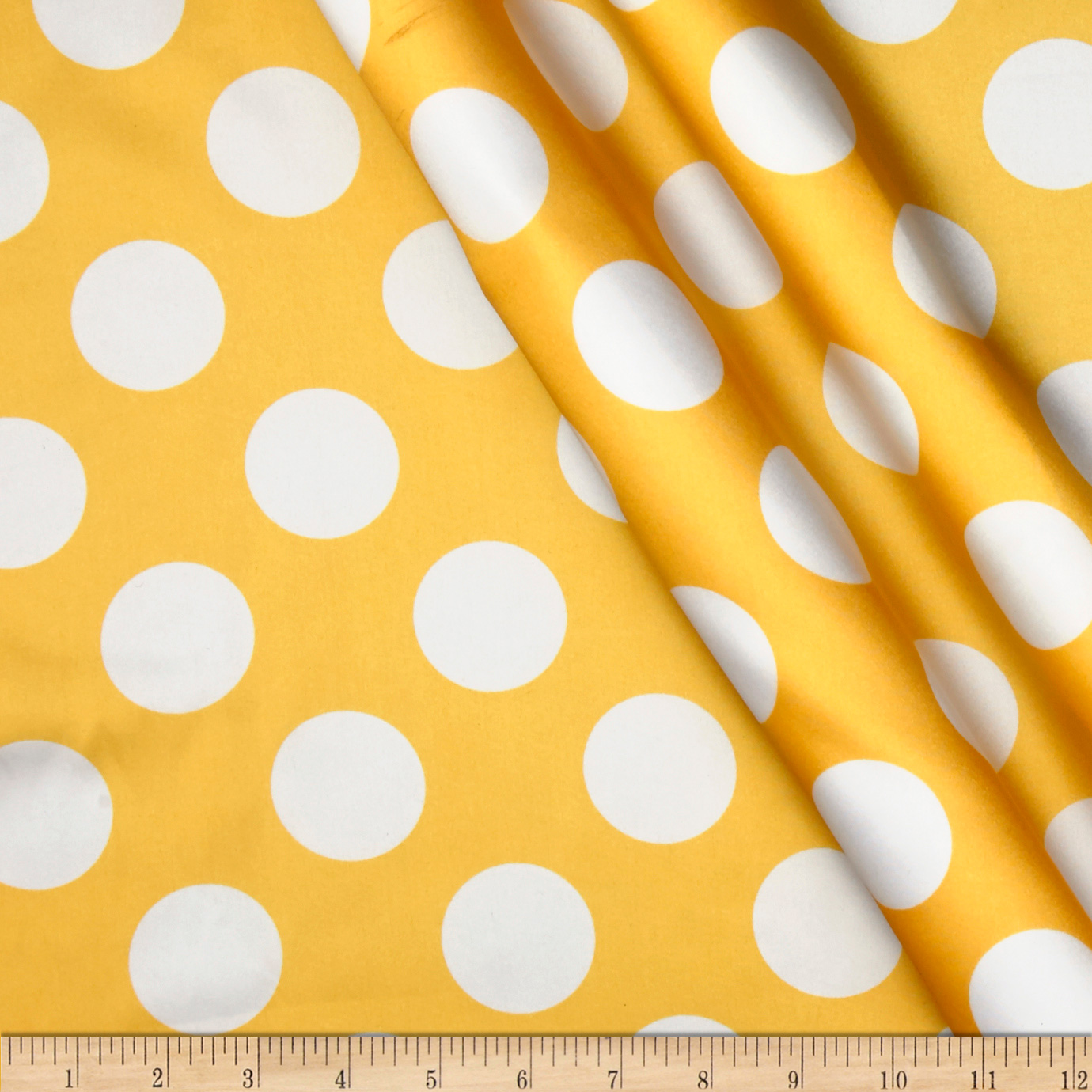 Charmeuse Satin Large Polka Dots Yellow/White Fabric