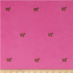 Embroidered 21 Wale Corduroy Dog Hot Pink/Brown