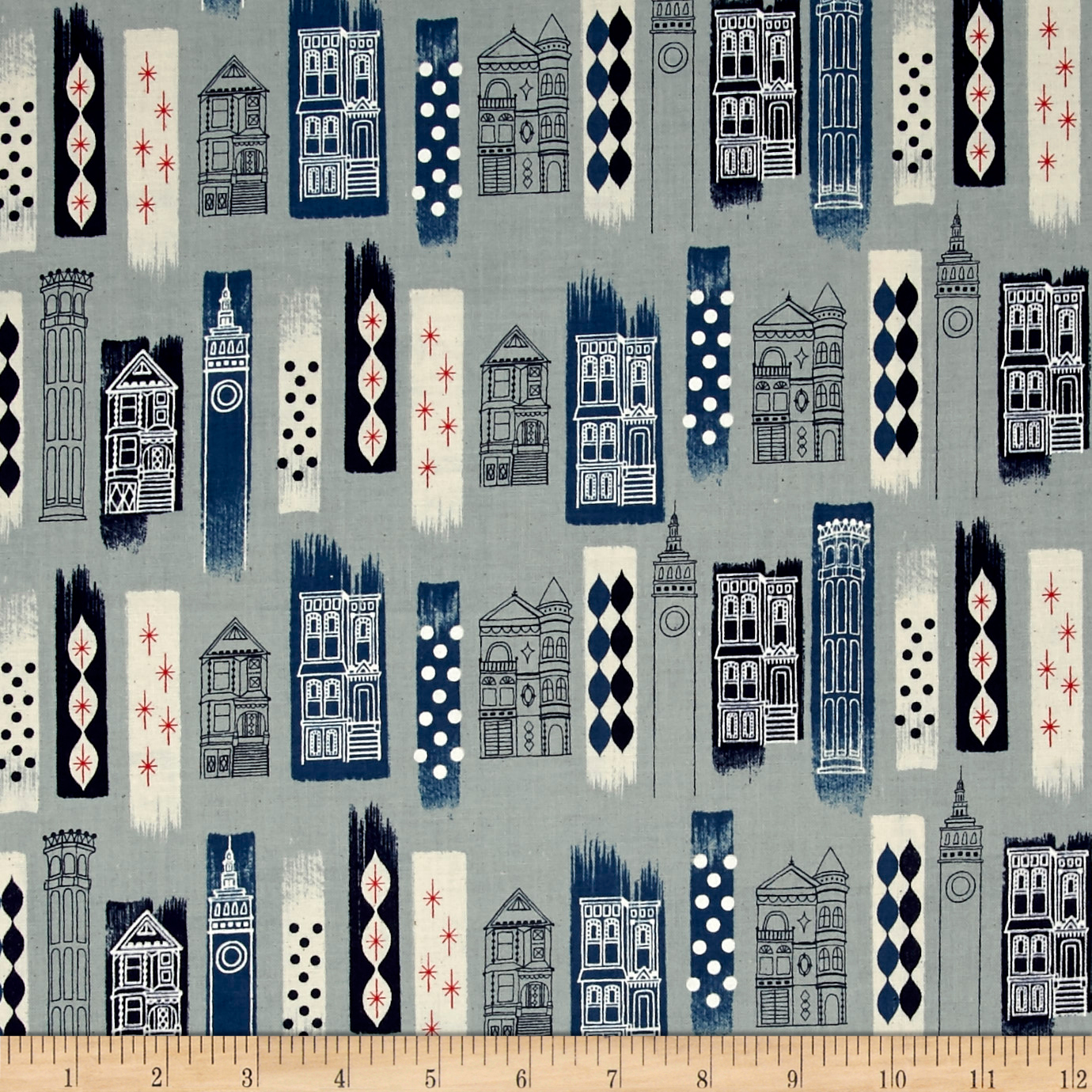 Image of Cotton + Steel Jubilee In The City Blue Fabric