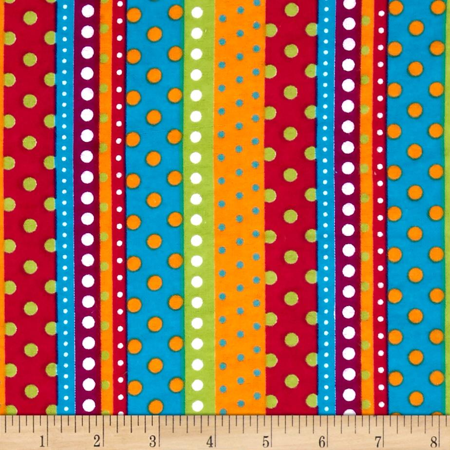 Flannel Dotted Stripe Bright Fabric
