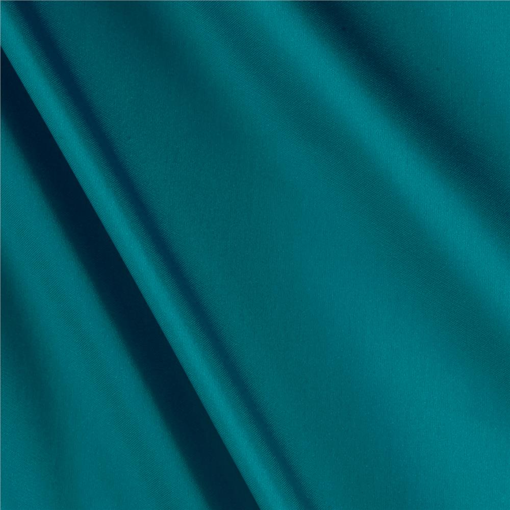 Charmeuse Satin Solid Cerulean Blue Fabric By The Yard