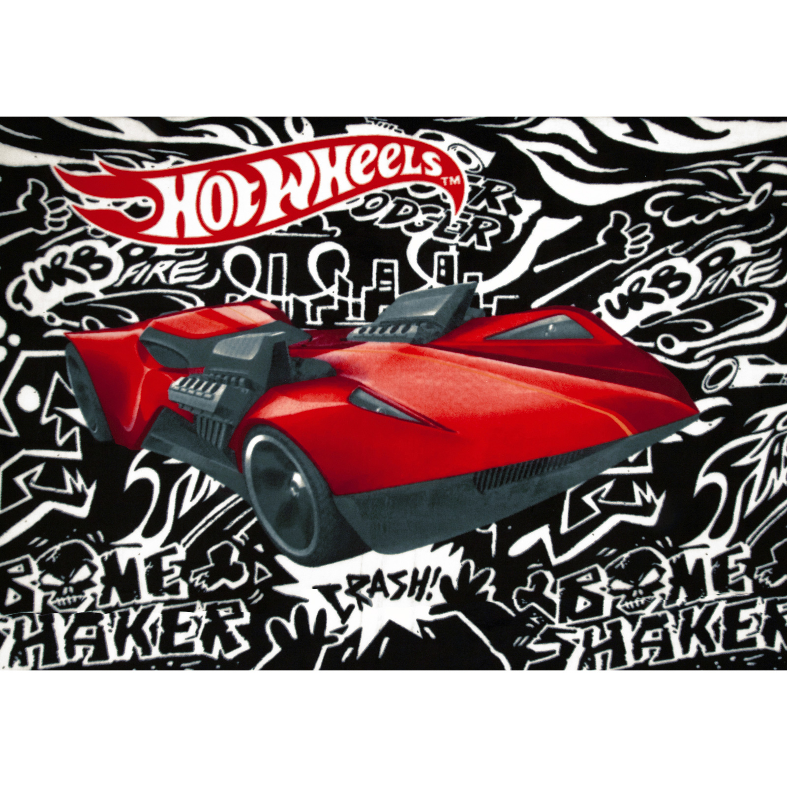 Hot Wheels Fast Car Fleece Panel Black/White Fabric