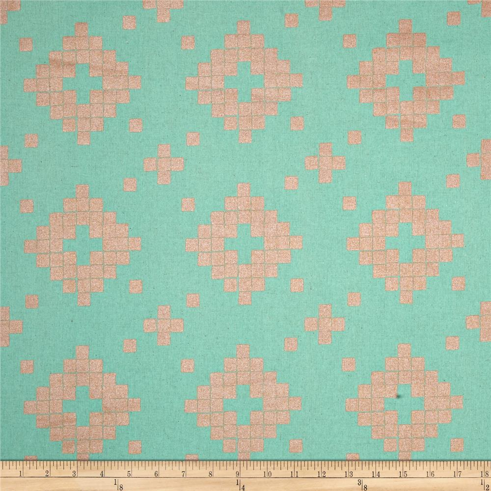 Cotton + Steel Mesa Canvas Tile Teal Fabric