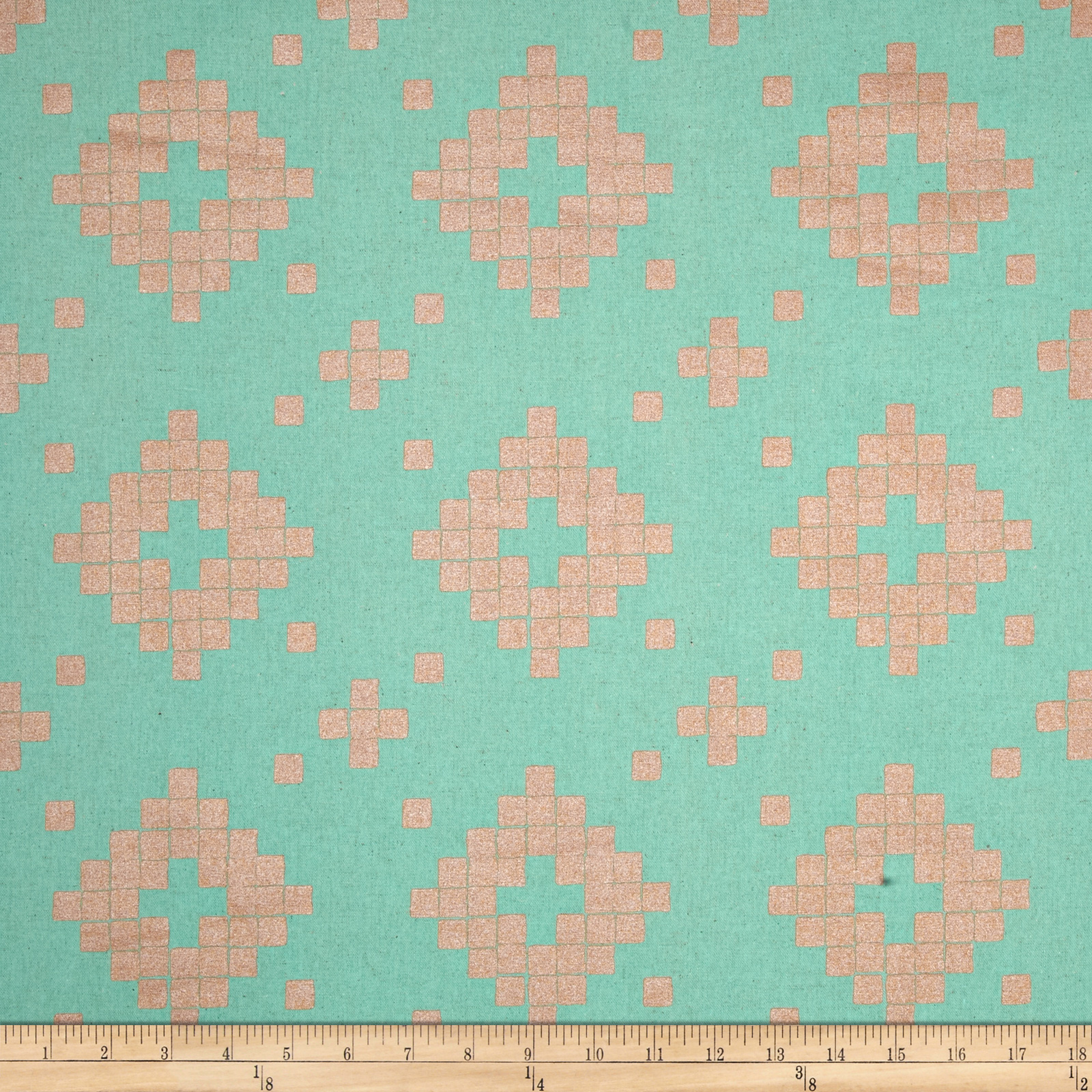 Image of Cotton + Steel Mesa Canvas Tile Teal Fabric