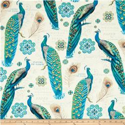 Majestic Beauties Large Peacocks Allover Cream Fabric