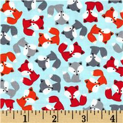 Robert Kaufman Urban Zoology Mini Foxes Sky