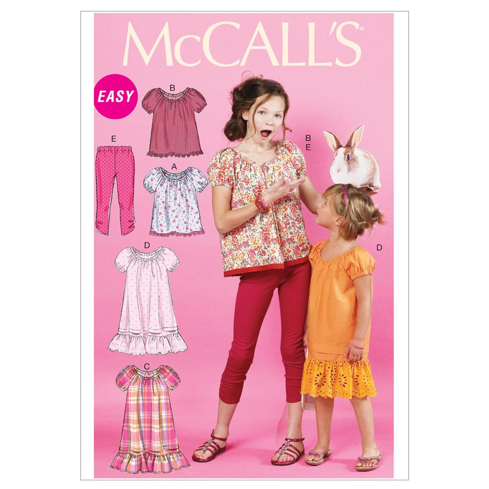 McCall's Children's/Girls' Tops, Dresses and Leggings Pattern M6500 Size CCE