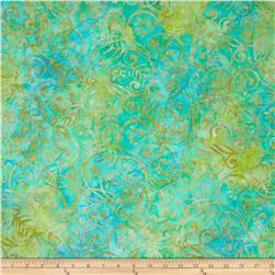 Batavian Batiks Scrolly Leaves Lt. Aqua/Green