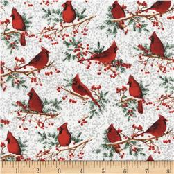 Timeless Treasures Winter Wonderland Metallic Cardinals White