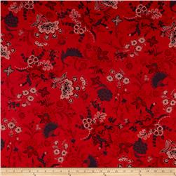 French Designer Cotton Voile Peacock Floral Red/Charcoal