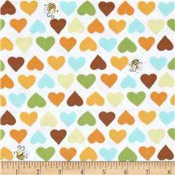 Susybee Zoe the Giraffe Hearts and Bees Flannel White-Multi
