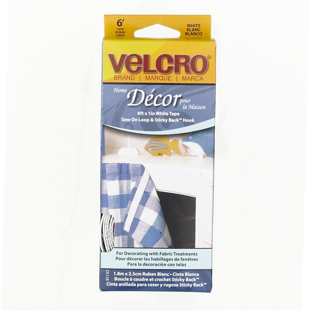 Velcro Home Decor Tape Roll 1'' x 6' White