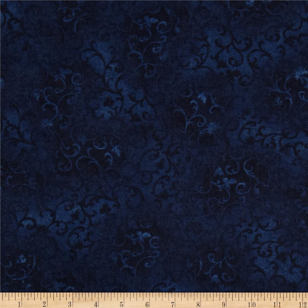 "108"" Wide Essentials Flannel Quilt Backing Scroll Navy"