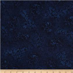 108'' Wide Essentials Flannel Quilt Backing Scroll Navy