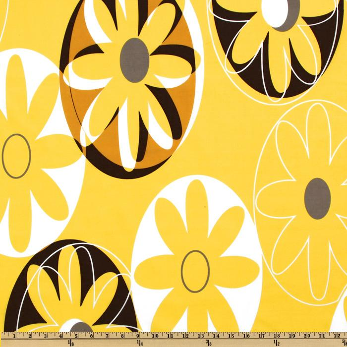 Cotton Lawn Large Daisy Yellow/Brown