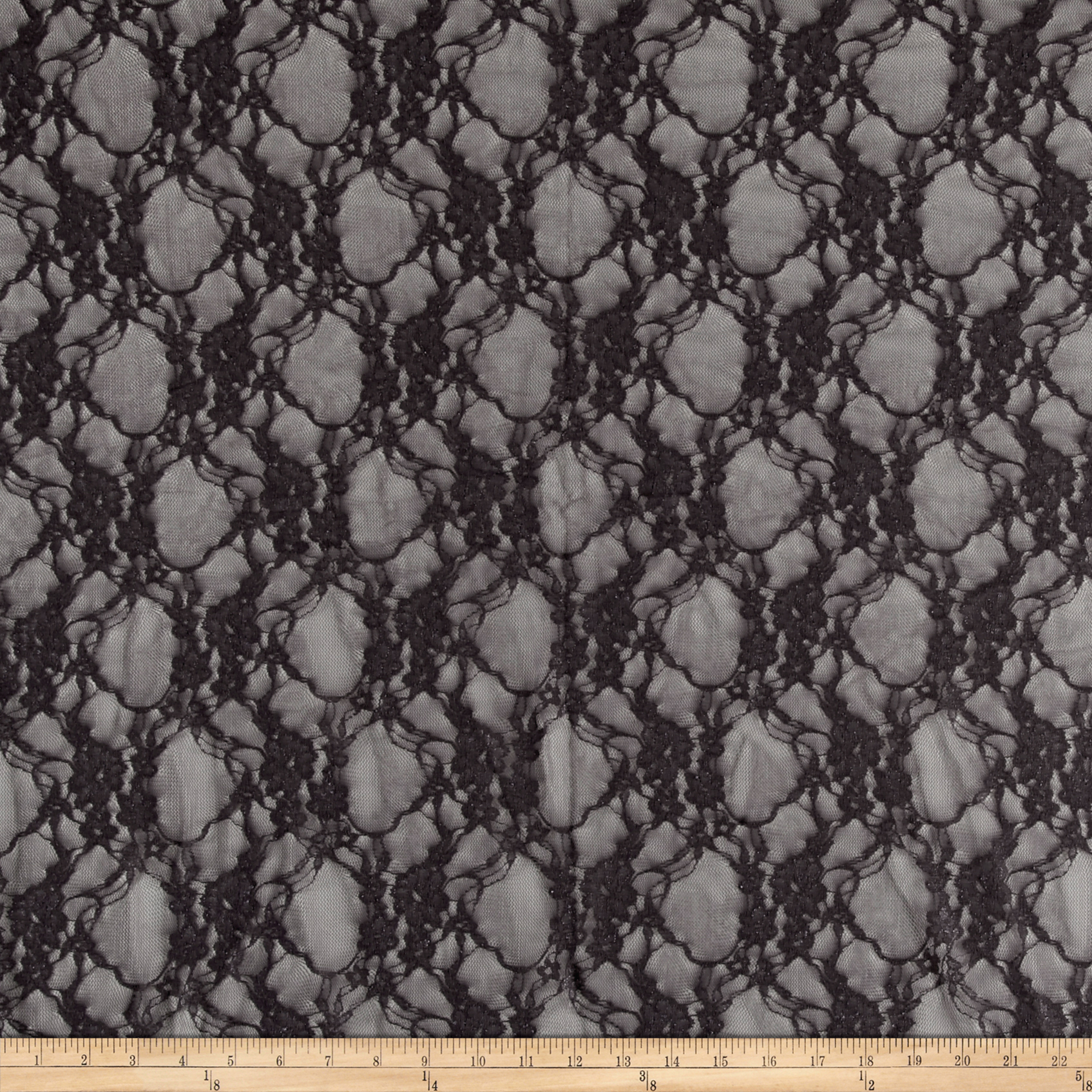 Giselle Stretch Floral Lace Gray Fabric by Ben in USA