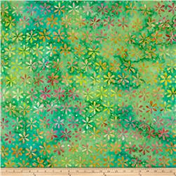 Timeless Treasures Batik Tonga Neon Set Flower Stamp Green Apple