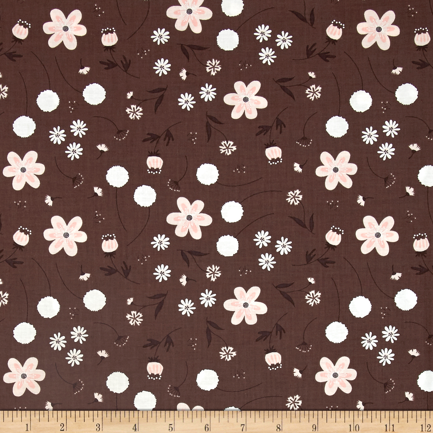 In The Woods Wild Garden Dark Taupe Fabric by Eugene in USA