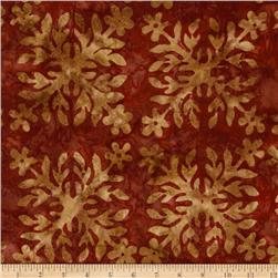 Bali Batiks Square Leaf Red/Tan