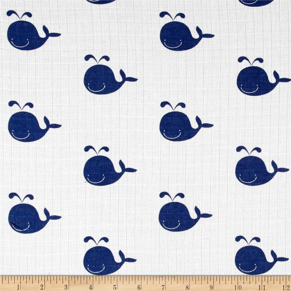 Riley blake double gauze whale navy discount designer for Whale fabric