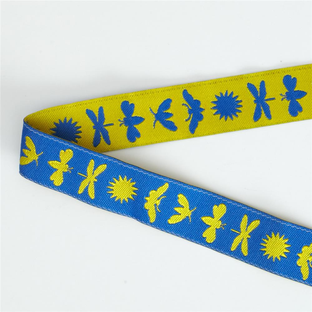 5/8'' Jane Sassaman Yellow & Blue Night Life Ribbon Fabric By The Yard