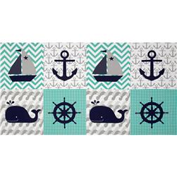 Nautical Treasure Block Print Dark Turquoise