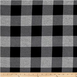 Hatchi Lightweight Sweater Knit Buffalo Check Plaid Black/Grey