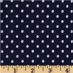 Stretch Bamboo Rayon Jersey Knit Polka Dot Navy/White