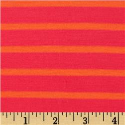 Jersey Knit Yarn Dyed Stripes Hot Pink/Orange