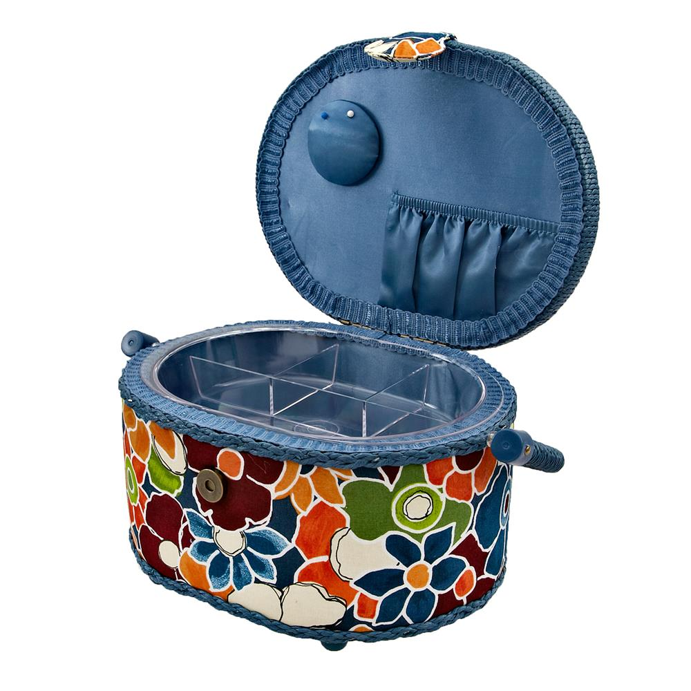 Sewing Basket Oval Dark Blue