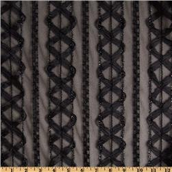 Lace Ribbon Stripes Black
